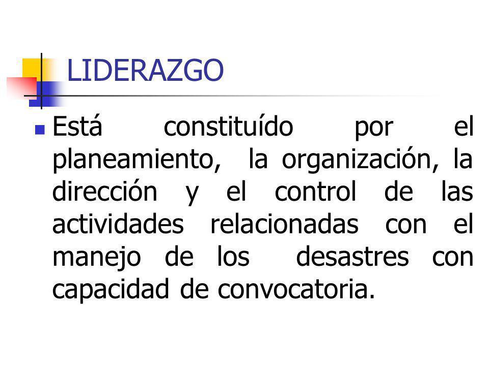 LIDERAZGO Está constituído por el planeamiento, la organización, la dirección y el control de las actividades relacionadas con el manejo de los desast