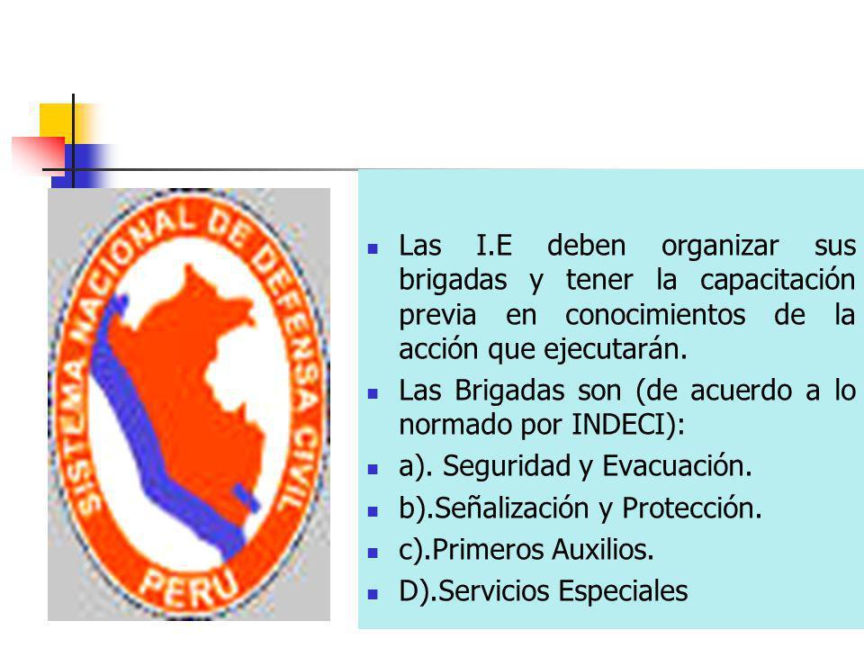 Las I.E deben organizar sus brigadas y tener la capacitación previa en conocimientos de la acción que ejecutarán. Las Brigadas son (de acuerdo a lo no