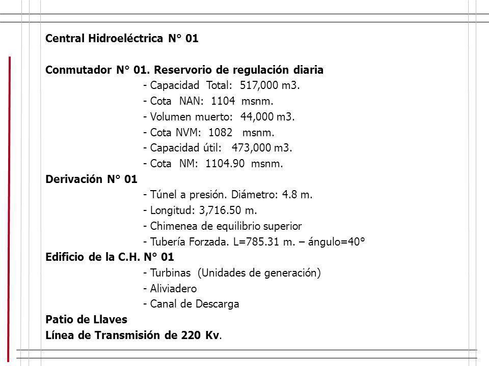 Central Hidroeléctrica N° 01 Conmutador N° 01. Reservorio de regulación diaria - Capacidad Total: 517,000 m3. - Cota NAN: 1104 msnm. - Volumen muerto: