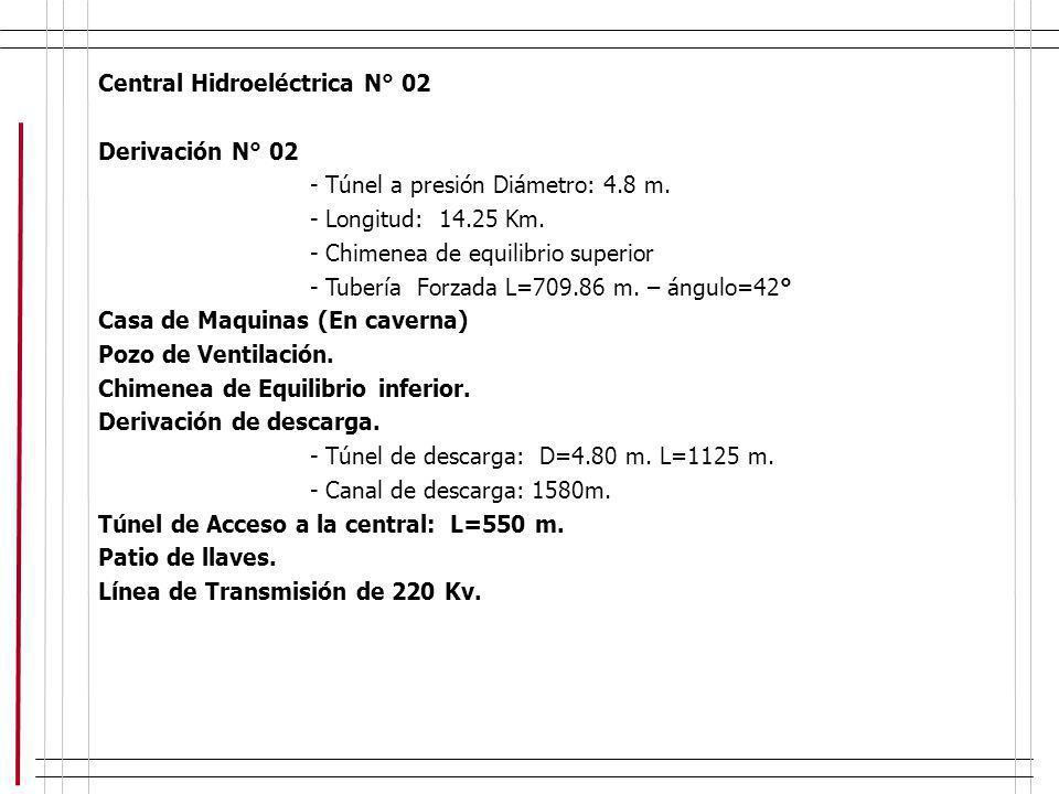 Central Hidroeléctrica N° 02 Derivación N° 02 - Túnel a presión Diámetro: 4.8 m. - Longitud: 14.25 Km. - Chimenea de equilibrio superior - Tubería For