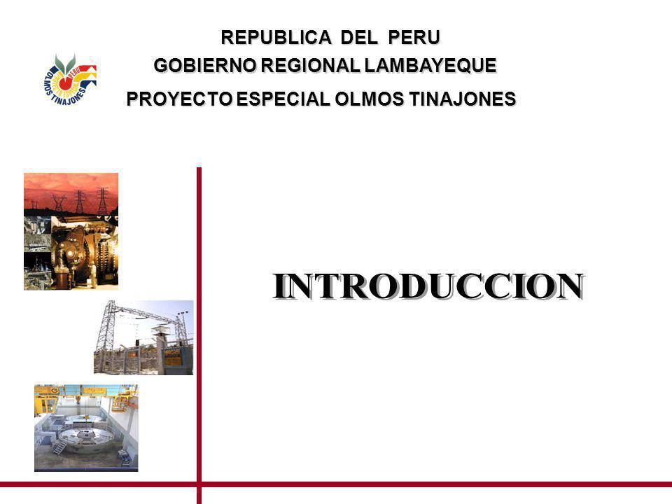INTRODUCCION En el presente documento se presenta un resumen con los alcances de la generación eléctrica del Proyecto Olmos, así como el estado actual del proceso para la concesión del componente eléctrico del Proyecto Olmos, que se inició el 03.12.2006.