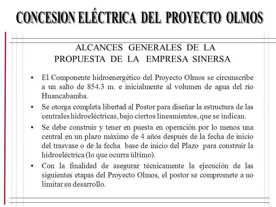 ALCANCES GENERALES DE LA PROPUESTA DE LA EMPRESA SINERSA El Componente hidroenergético del Proyecto Olmos se circunscribe a un salto de 854.3 m. e ini