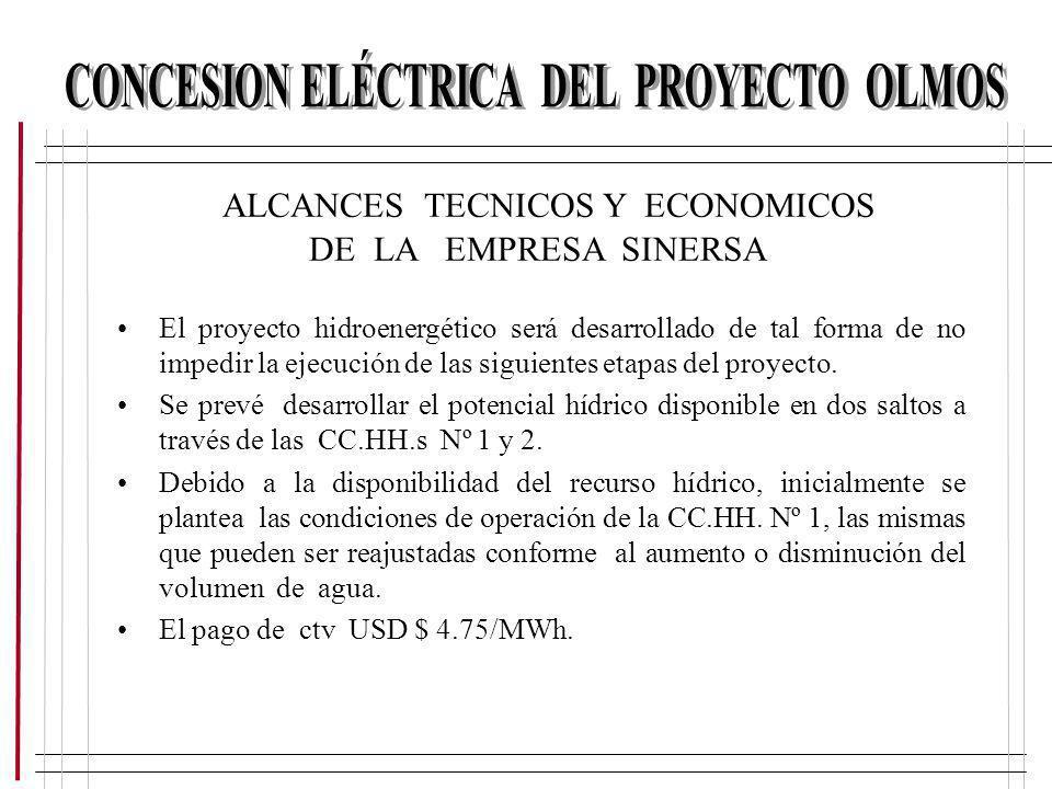 ALCANCES TECNICOS Y ECONOMICOS DE LA EMPRESA SINERSA El proyecto hidroenergético será desarrollado de tal forma de no impedir la ejecución de las sigu