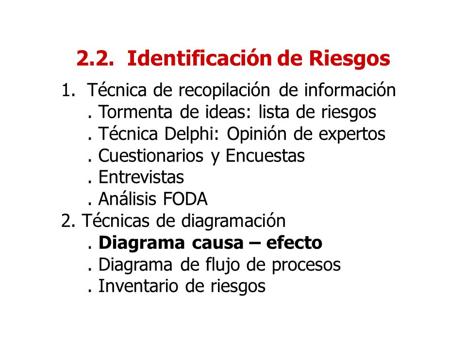 2.2. Identificación de Riesgos 1.Técnica de recopilación de información. Tormenta de ideas: lista de riesgos. Técnica Delphi: Opinión de expertos. Cue