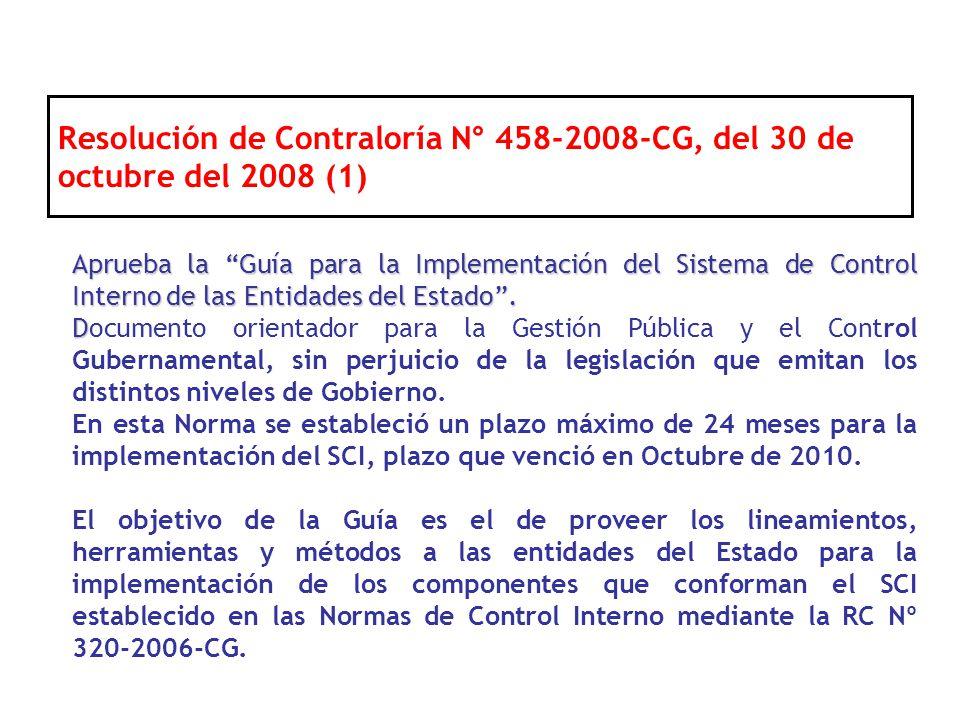 Aprueba la Guía para la Implementación del Sistema de Control Interno de las Entidades del Estado. D Documento orientador para la Gestión Pública y el