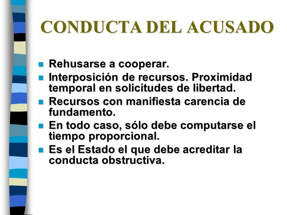 CONDUCTA DEL ACUSADO n Rehusarse a cooperar.n Interposición de recursos.
