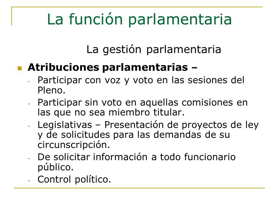 La función parlamentaria Atribuciones parlamentarias – - Participar con voz y voto en las sesiones del Pleno.