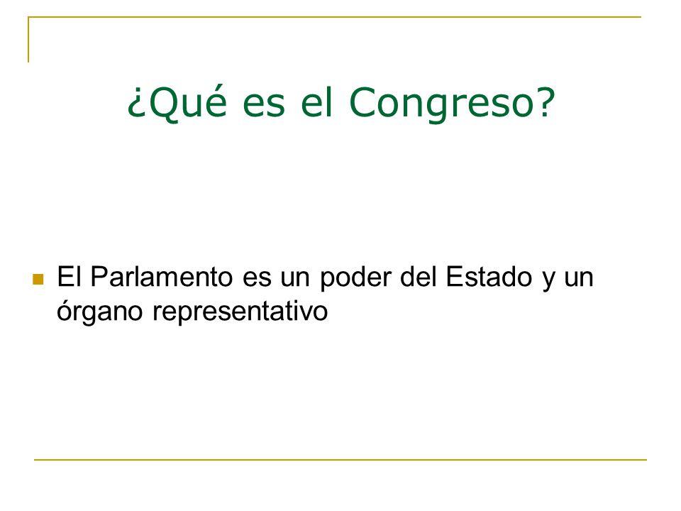 ¿Qué es el Congreso El Parlamento es un poder del Estado y un órgano representativo