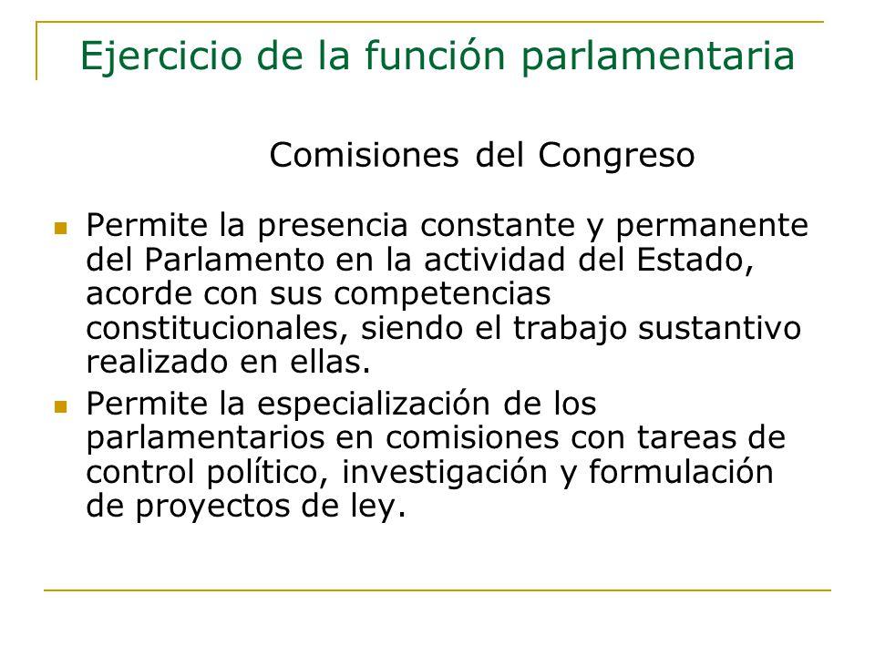 Permite la presencia constante y permanente del Parlamento en la actividad del Estado, acorde con sus competencias constitucionales, siendo el trabajo sustantivo realizado en ellas.