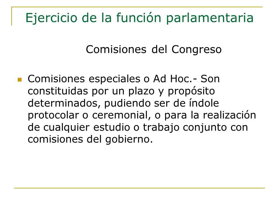 Comisiones especiales o Ad Hoc.- Son constituidas por un plazo y propósito determinados, pudiendo ser de índole protocolar o ceremonial, o para la realización de cualquier estudio o trabajo conjunto con comisiones del gobierno.