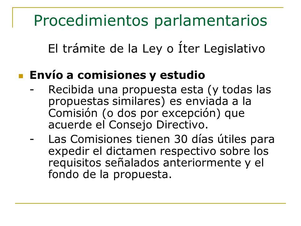 Envío a comisiones y estudio -Recibida una propuesta esta (y todas las propuestas similares) es enviada a la Comisión (o dos por excepción) que acuerde el Consejo Directivo.