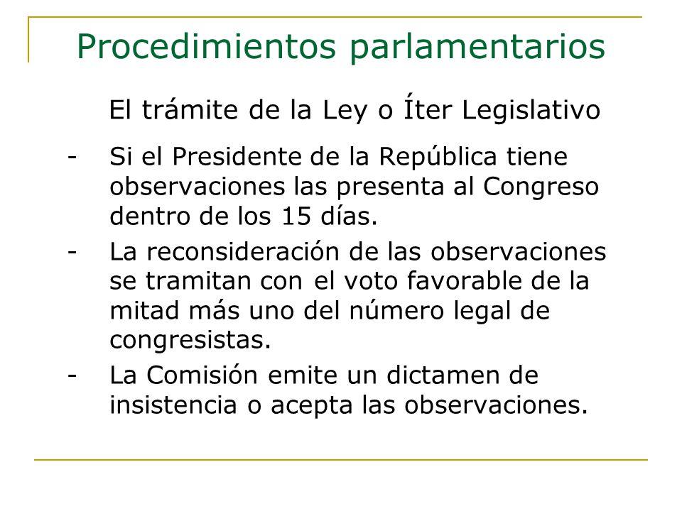 -Si el Presidente de la República tiene observaciones las presenta al Congreso dentro de los 15 días.