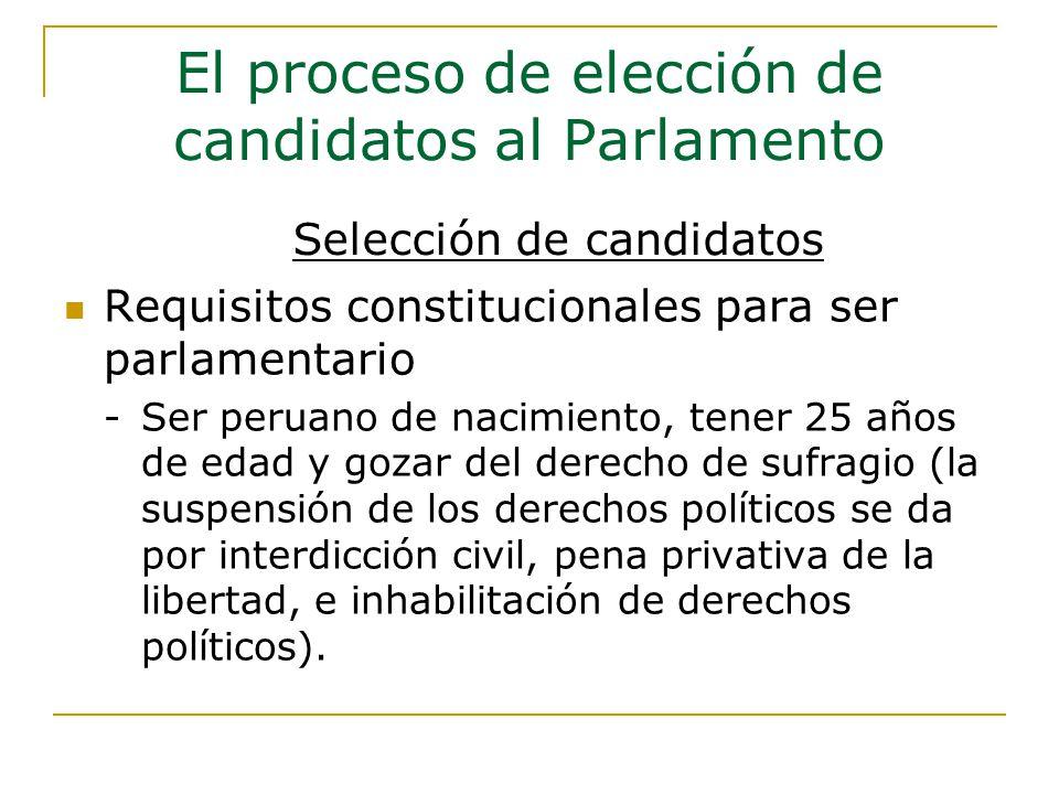 El proceso de elección de candidatos al Parlamento Requisitos constitucionales para ser parlamentario - Ser peruano de nacimiento, tener 25 años de edad y gozar del derecho de sufragio (la suspensión de los derechos políticos se da por interdicción civil, pena privativa de la libertad, e inhabilitación de derechos políticos).