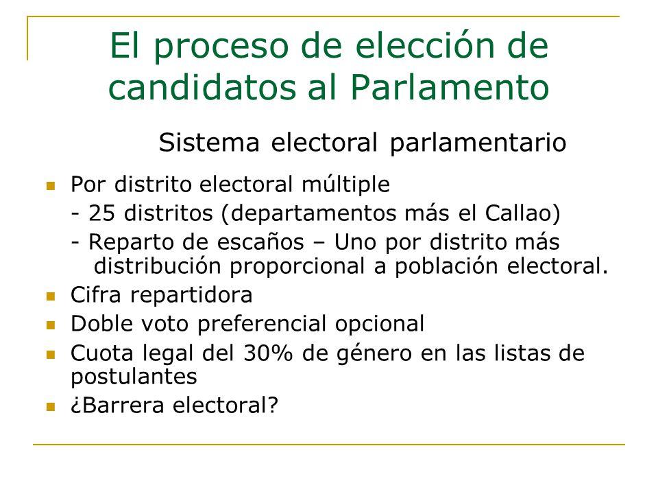 Por distrito electoral múltiple - 25 distritos (departamentos más el Callao) - Reparto de escaños – Uno por distrito más distribución proporcional a población electoral.