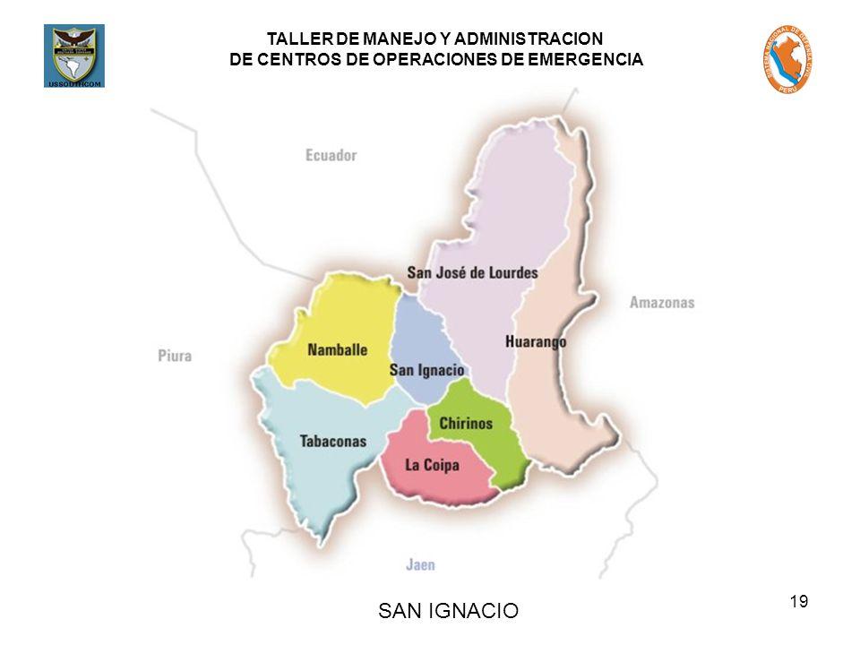 TALLER DE MANEJO Y ADMINISTRACION DE CENTROS DE OPERACIONES DE EMERGENCIA 19 SAN IGNACIO