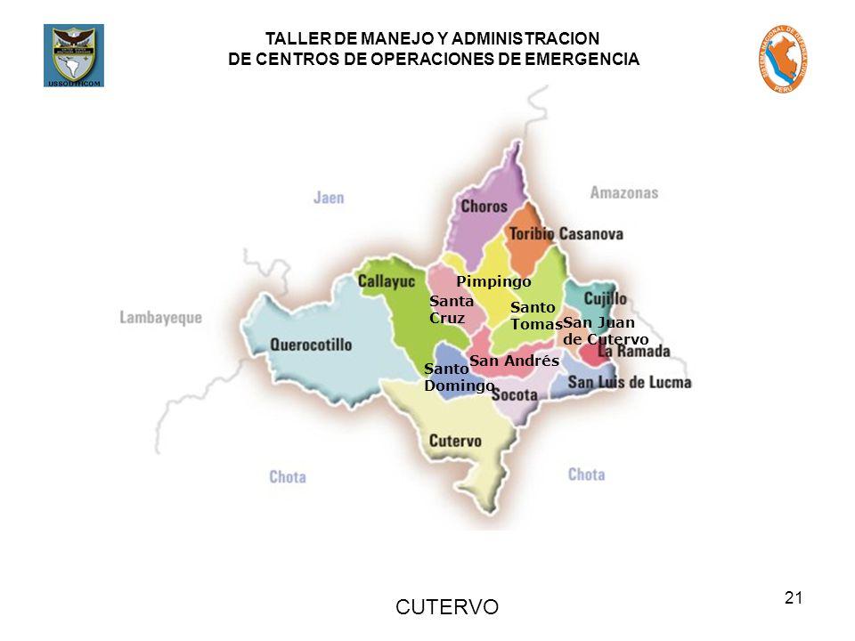 TALLER DE MANEJO Y ADMINISTRACION DE CENTROS DE OPERACIONES DE EMERGENCIA 21 Santa Cruz Pimpingo Santo Tomas San Juan de Cutervo San Andrés Santo Domingo CUTERVO