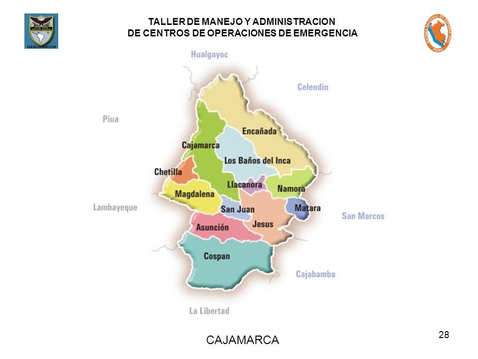 TALLER DE MANEJO Y ADMINISTRACION DE CENTROS DE OPERACIONES DE EMERGENCIA 28 CAJAMARCA