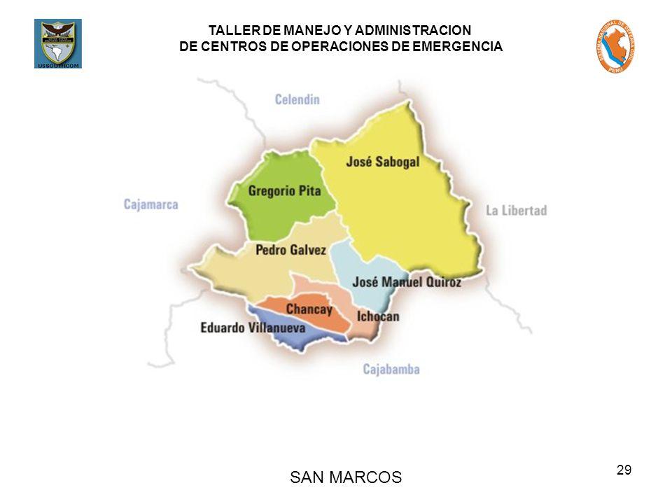 TALLER DE MANEJO Y ADMINISTRACION DE CENTROS DE OPERACIONES DE EMERGENCIA 29 SAN MARCOS