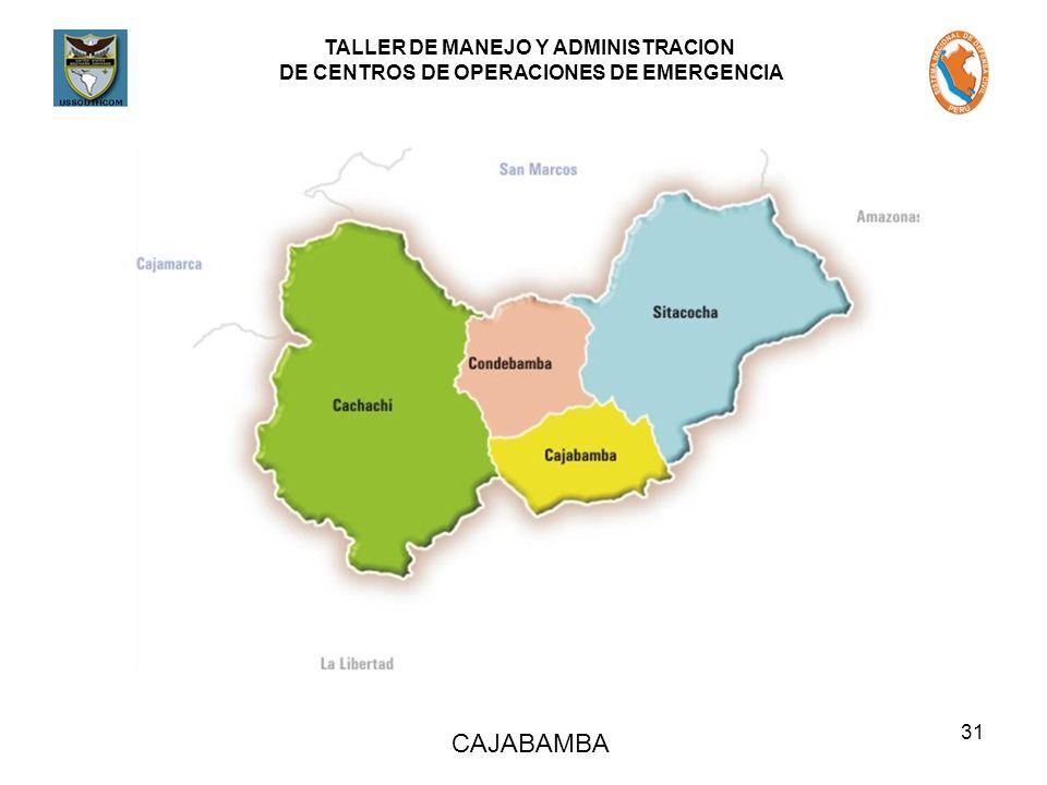 TALLER DE MANEJO Y ADMINISTRACION DE CENTROS DE OPERACIONES DE EMERGENCIA 31 CAJABAMBA