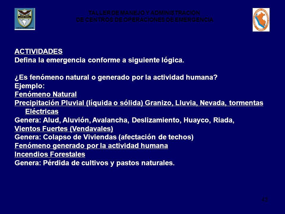 TALLER DE MANEJO Y ADMINISTRACION DE CENTROS DE OPERACIONES DE EMERGENCIA 43 ACTIVIDADES Defina la emergencia conforme a siguiente lógica.