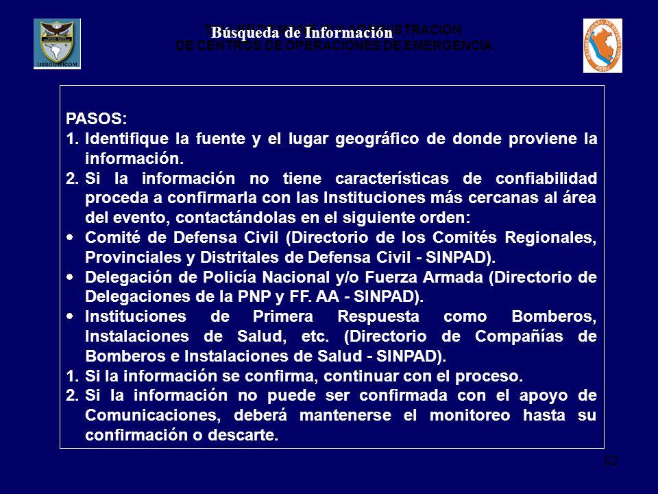 TALLER DE MANEJO Y ADMINISTRACION DE CENTROS DE OPERACIONES DE EMERGENCIA 52 Búsqueda de Información PASOS: 1.Identifique la fuente y el lugar geográfico de donde proviene la información.