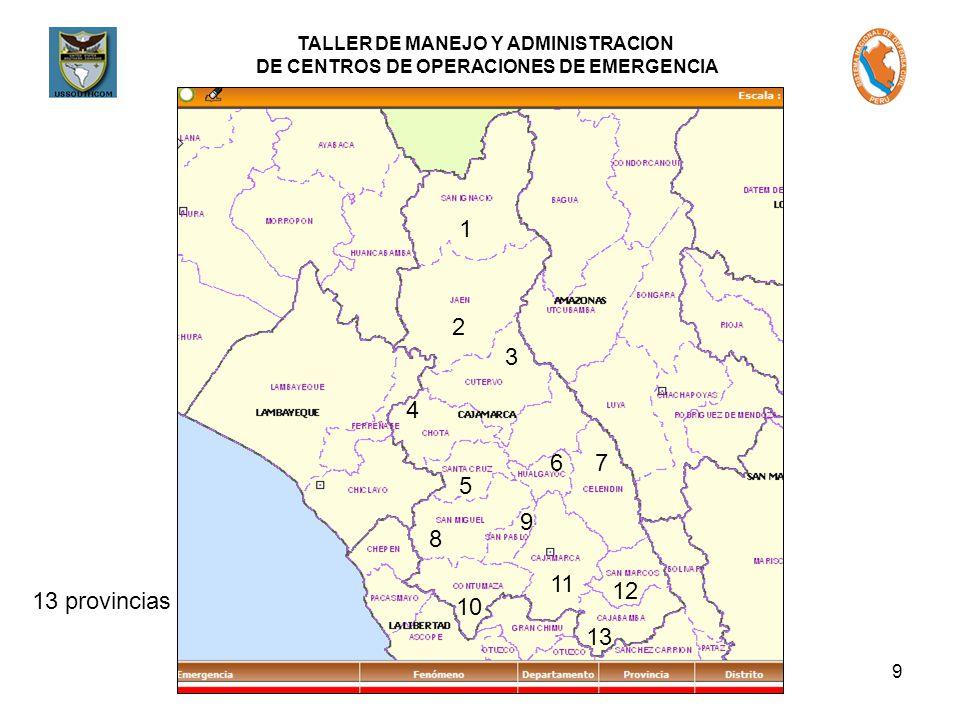 TALLER DE MANEJO Y ADMINISTRACION DE CENTROS DE OPERACIONES DE EMERGENCIA 9 1 2 3 4 5 6 8 7 13 provincias 9 10 11 12 13