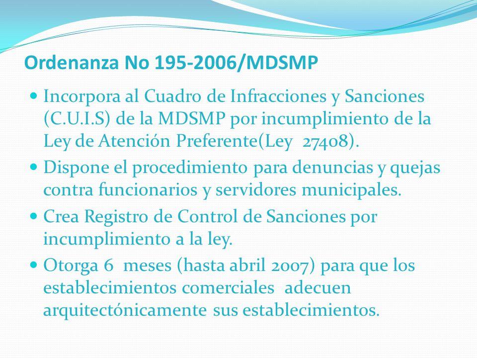 Ordenanza No 195-2006/MDSMP Incorpora al Cuadro de Infracciones y Sanciones (C.U.I.S) de la MDSMP por incumplimiento de la Ley de Atención Preferente(