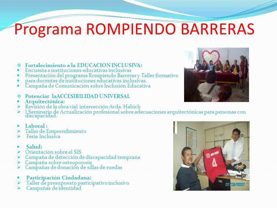 Programa ROMPIENDO BARRERAS Fortalecimiento a la EDUCACION INCLUSIVA: Encuesta a instituciones educativas inclusivas Presentación del programa Rompien