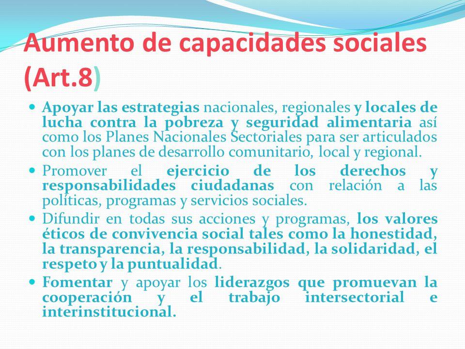 Aumento de capacidades sociales (Art.8) Apoyar las estrategias nacionales, regionales y locales de lucha contra la pobreza y seguridad alimentaria así