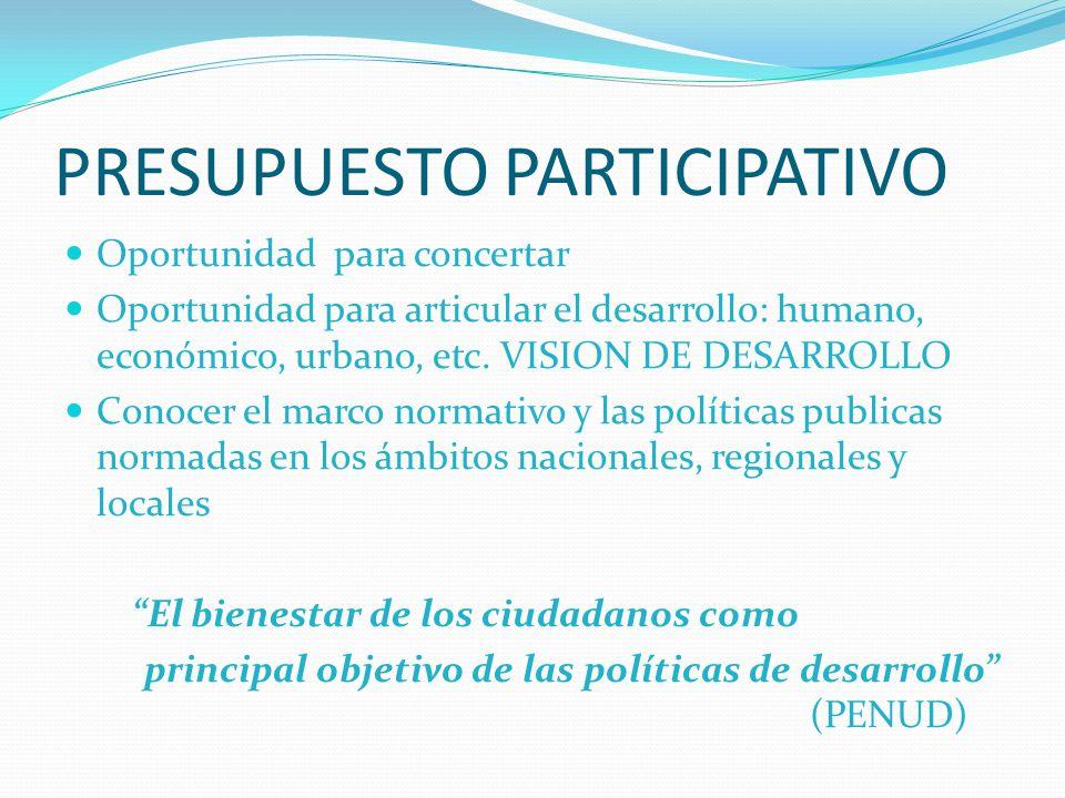 PRESUPUESTO PARTICIPATIVO Oportunidad para concertar Oportunidad para articular el desarrollo: humano, económico, urbano, etc. VISION DE DESARROLLO Co