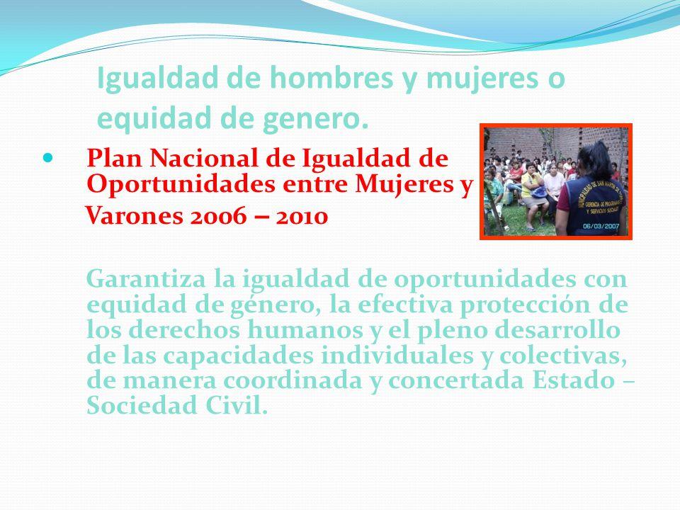 Igualdad de hombres y mujeres o equidad de genero. Plan Nacional de Igualdad de Oportunidades entre Mujeres y Varones 2006 – 2010 Garantiza la igualda