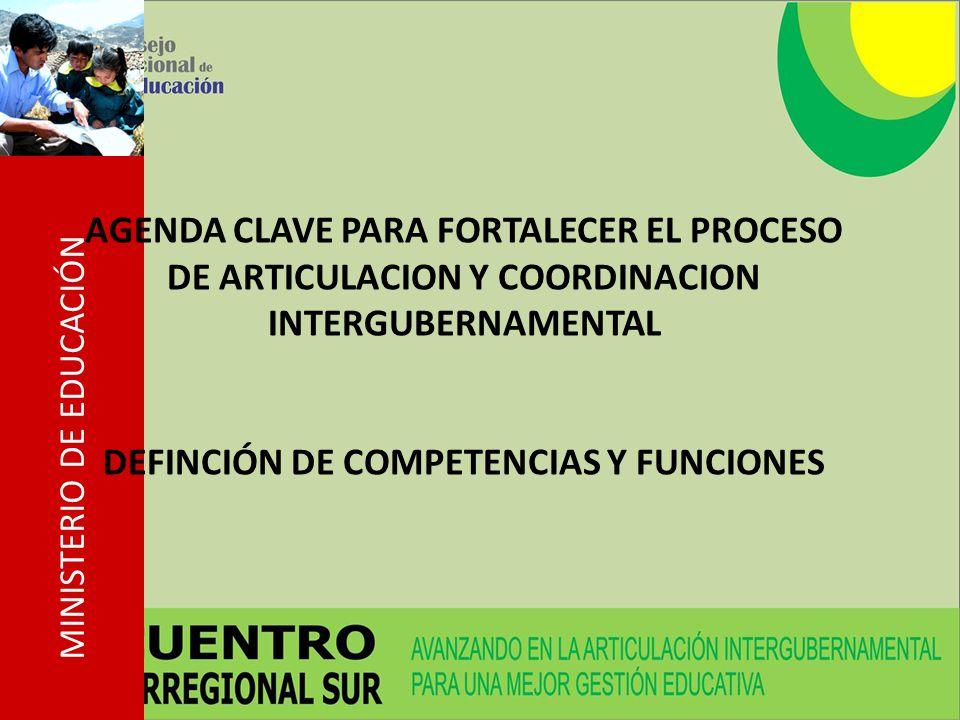 MINISTERIO DE EDUCACIÓN AGENDA CLAVE PARA FORTALECER EL PROCESO DE ARTICULACION Y COORDINACION INTERGUBERNAMENTAL DEFINCIÓN DE COMPETENCIAS Y FUNCIONES