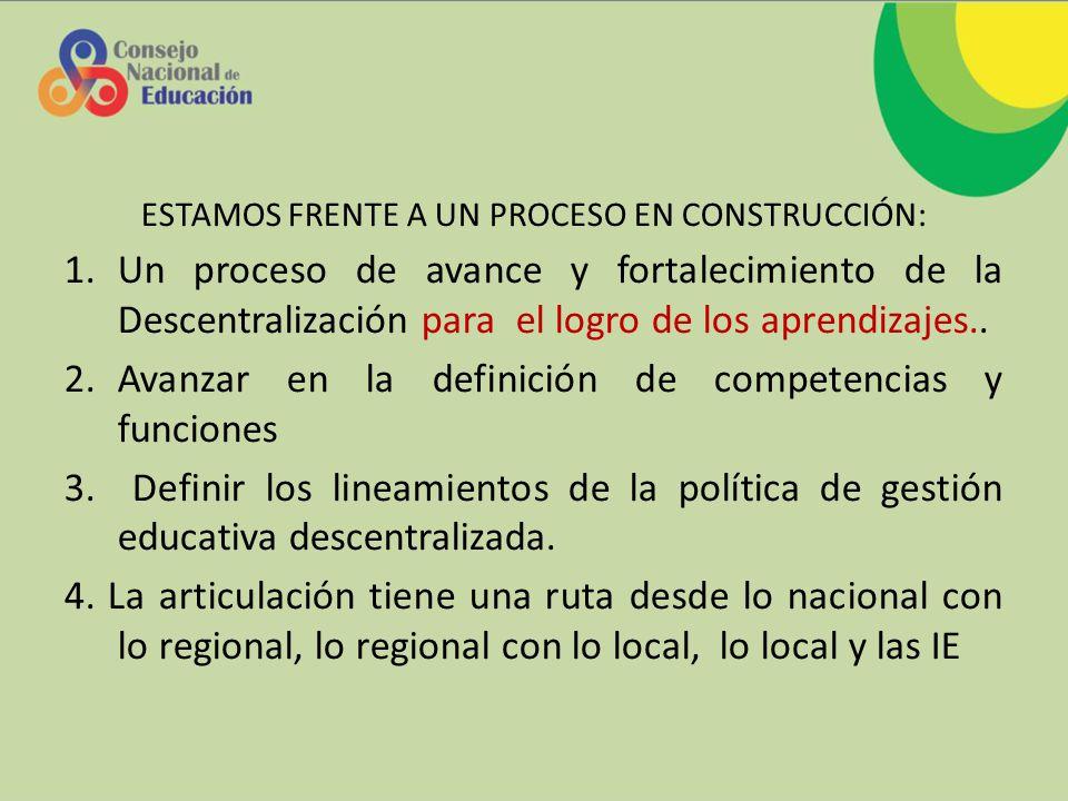 ESTAMOS FRENTE A UN PROCESO EN CONSTRUCCIÓN: 1.Un proceso de avance y fortalecimiento de la Descentralización para el logro de los aprendizajes..