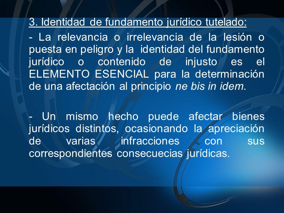 3. Identidad de fundamento jurídico tutelado: - La relevancia o irrelevancia de la lesión o puesta en peligro y la identidad del fundamento jurídico o