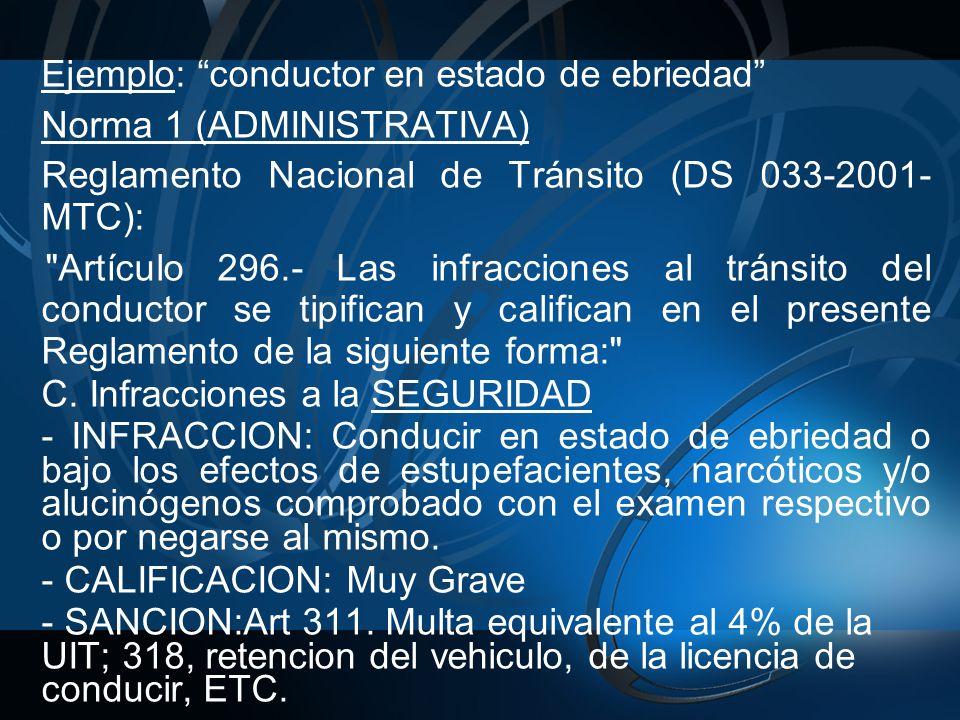 Ejemplo: conductor en estado de ebriedad Norma 1 (ADMINISTRATIVA) Reglamento Nacional de Tránsito (DS 033-2001- MTC): Artículo 296.- Las infracciones al tránsito del conductor se tipifican y califican en el presente Reglamento de la siguiente forma: C.