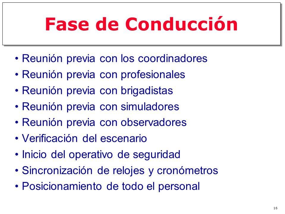 15 Fase de Preparación Formación de un comité de organización Determinación del tipo y magnitud de el simulacro, con base en el diagnóstico de vulnera