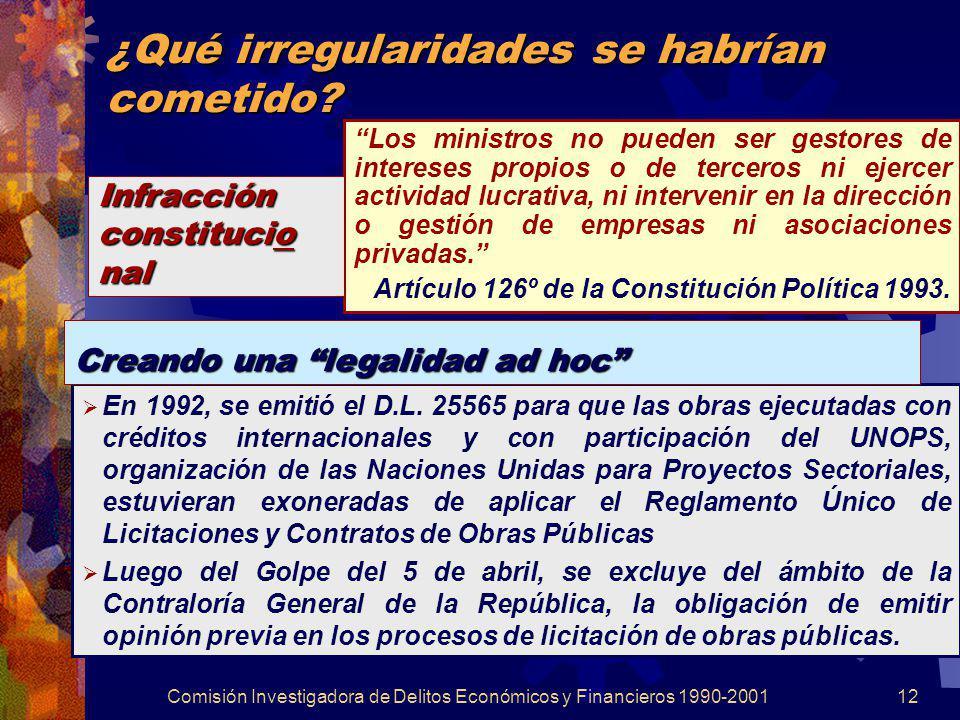 Comisión Investigadora de Delitos Económicos y Financieros 1990-200112 ¿Qué irregularidades se habrían cometido? Los ministros no pueden ser gestores