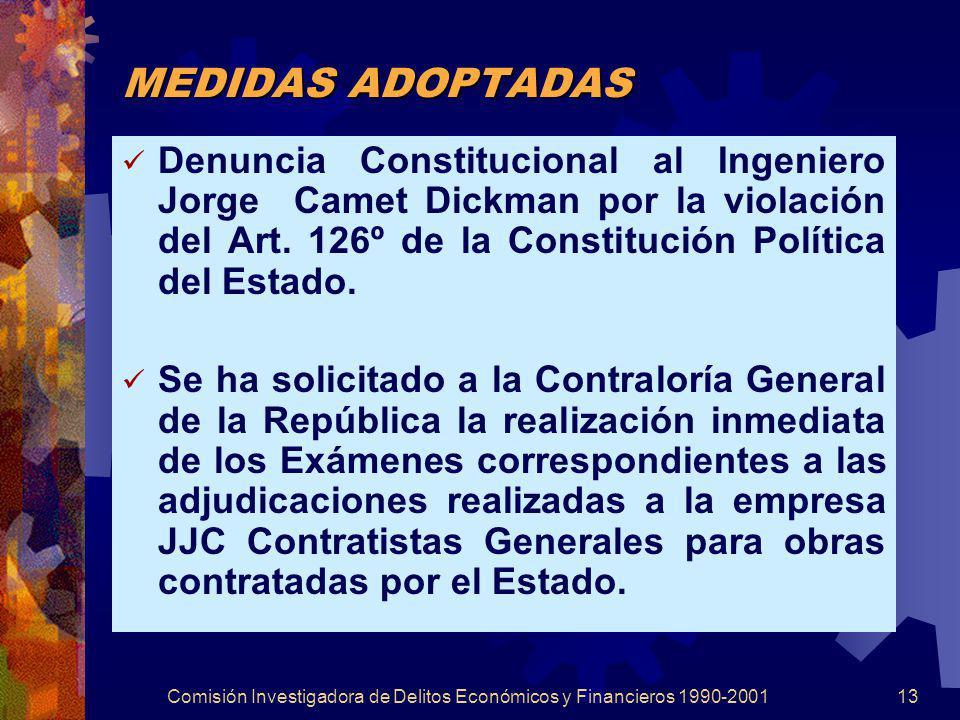Comisión Investigadora de Delitos Económicos y Financieros 1990-200113 MEDIDAS ADOPTADAS Denuncia Constitucional al Ingeniero Jorge Camet Dickman por