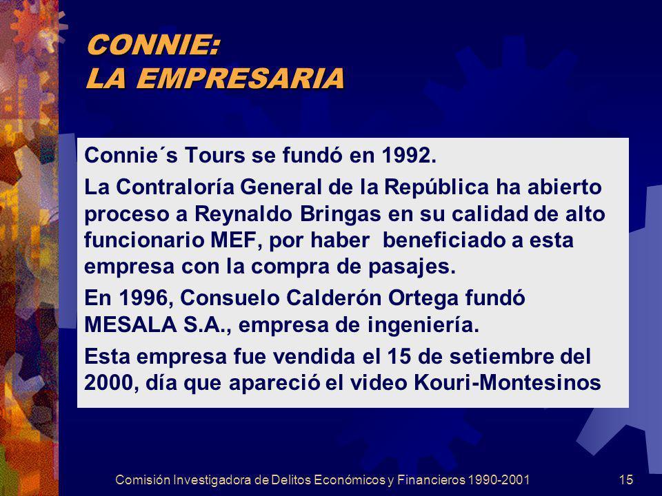 Comisión Investigadora de Delitos Económicos y Financieros 1990-200115 CONNIE: LA EMPRESARIA Connie´s Tours se fundó en 1992. La Contraloría General d