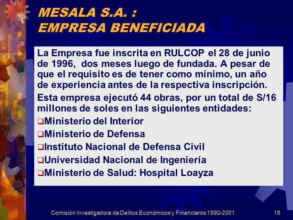 Comisión Investigadora de Delitos Económicos y Financieros 1990-200116 MESALA S.A. : EMPRESA BENEFICIADA La Empresa fue inscrita en RULCOP el 28 de ju