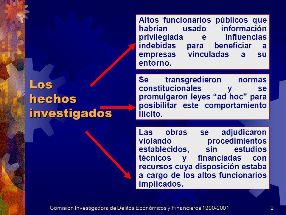 Comisión Investigadora de Delitos Económicos y Financieros 1990-20012 Los hechos investigados Altos funcionarios públicos que habrían usado informació