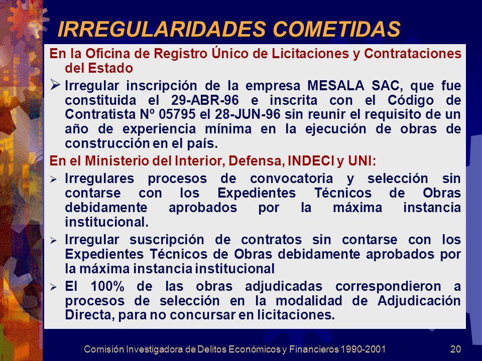 Comisión Investigadora de Delitos Económicos y Financieros 1990-200120 IRREGULARIDADES COMETIDAS En la Oficina de Registro Único de Licitaciones y Con