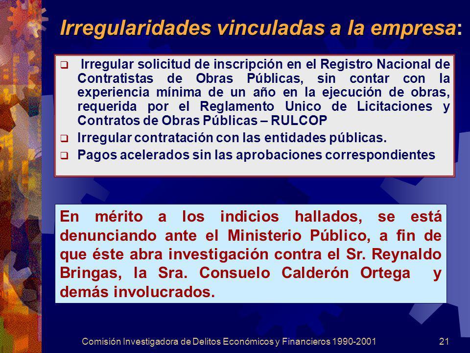 Comisión Investigadora de Delitos Económicos y Financieros 1990-200121 Irregularidades vinculadas a la empresa Irregularidades vinculadas a la empresa