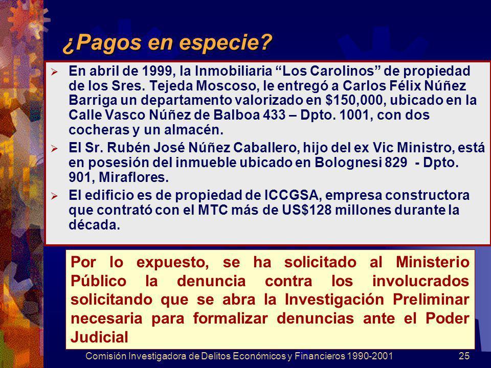 Comisión Investigadora de Delitos Económicos y Financieros 1990-200125 ¿Pagos en especie? En abril de 1999, la Inmobiliaria Los Carolinos de propiedad