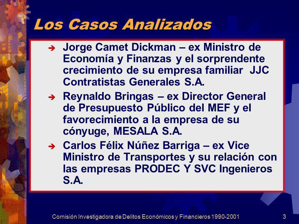 Comisión Investigadora de Delitos Económicos y Financieros 1990-20013 Los Casos Analizados Jorge Camet Dickman – ex Ministro de Economía y Finanzas y