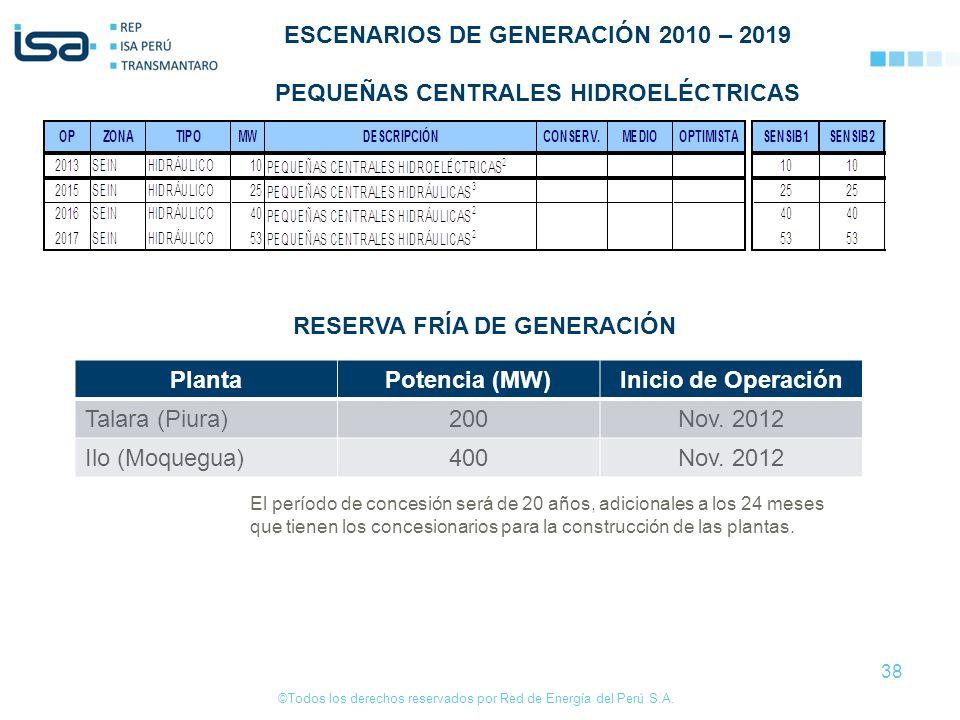 ©Todos los derechos reservados por Red de Energía del Perú S.A. 38 ESCENARIOS DE GENERACIÓN 2010 – 2019 PEQUEÑAS CENTRALES HIDROELÉCTRICAS El período