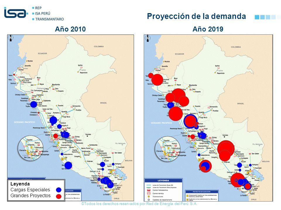 ©Todos los derechos reservados por Red de Energía del Perú S.A. Año 2010Año 2019 Leyenda Cargas Especiales Grandes Proyectos Proyección de la demanda