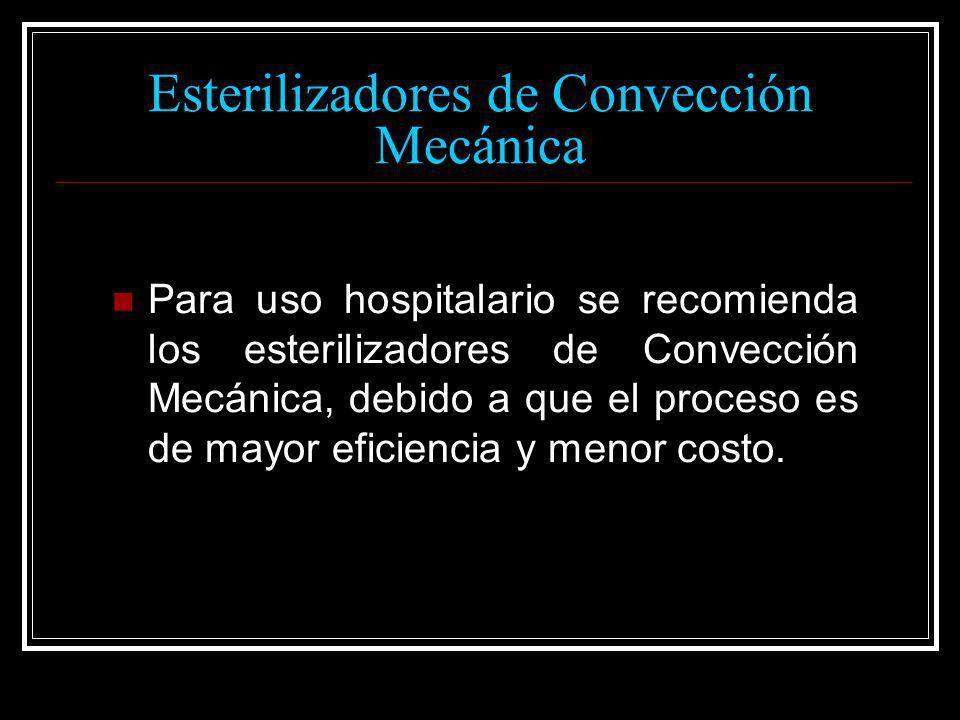 Esterilizadores de Convección Mecánica Para uso hospitalario se recomienda los esterilizadores de Convección Mecánica, debido a que el proceso es de m