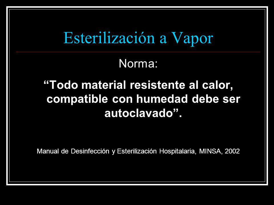 Esterilización a Vapor Norma: Todo material resistente al calor, compatible con humedad debe ser autoclavado. Manual de Desinfección y Esterilización