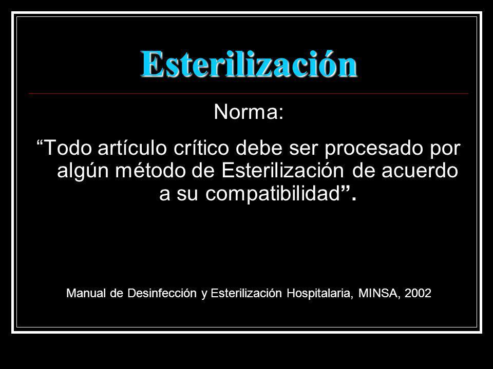 Esterilización Norma: Todo artículo crítico debe ser procesado por algún método de Esterilización de acuerdo a su compatibilidad. Manual de Desinfecci